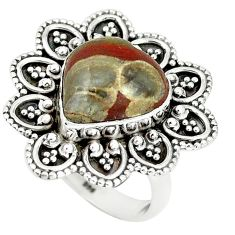 925 sterling silver natural brown mushroom rhyolite ring jewelry size 8 m1300