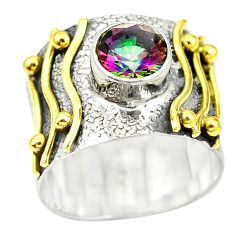 Victorian multicolor rainbow topaz 925 silver two tone band ring size 7.5 m13108