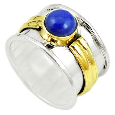 Victorian natural blue lapis lazuli 925 silver two tone band ring size 6 m13163