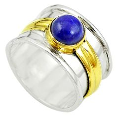 Natural blue lapis lazuli 925 silver two tone band ring size 7.5 m13167
