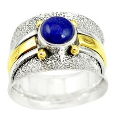 Natural blue lapis lazuli 925 silver two tone band ring size 7.5 m13193