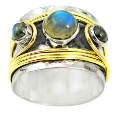 Victorian natural blue labradorite 925 silver two tone band ring size 8.5 m13226