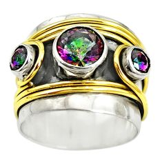 Victorian multicolor rainbow topaz 925 silver two tone band ring size 6.5 m13230
