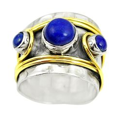 Natural blue lapis lazuli round 925 silver two tone band ring size 6.5 m13234
