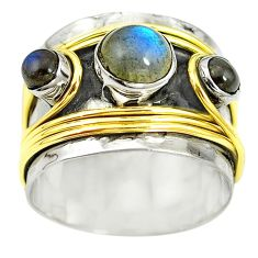 Victorian natural blue labradorite 925 silver two tone band ring size 9 m13235