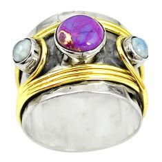 Victorian purple copper turquoise 925 silver two tone band ring size 7.5 m13238