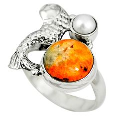 Natural yellow bumble bee australian jasper 925 silver fish ring size 8 m13327