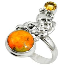 Natural yellow bumble bee australian jasper 925 silver fish ring size 8 m13330