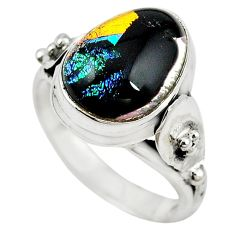 Multi color dichroic glass 925 sterling silver ring jewelry size 8 m14332