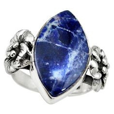 Natural blue sodalite 925 sterling silver flower ring jewelry size 9 m14346