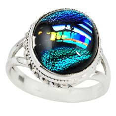 Multi color dichroic glass 925 sterling silver ring size 7.5 m14366