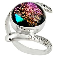 925 sterling silver multi color dichroic glass snake ring size 9 m14424