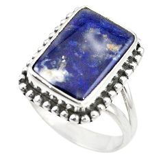 Natural blue sodalite 925 sterling silver ring jewelry size 7.5 m14626