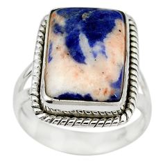 Natural orange sodalite 925 sterling silver ring jewelry size 7.5 m14652