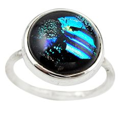 925 sterling silver multi color dichroic glass ring jewelry size 6.5 m14736