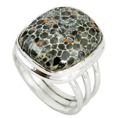 925 silver natural black stingray coral from alaska solitaire ring size 9 m15359