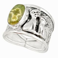 Natural ocean sea jasper (madagascar) 925 silver two cats ring size 8.5 m16091