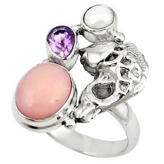 Natural pink opal amethyst 925 sterling silver fish ring size 8 m16185