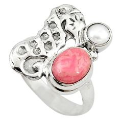 Natural pink rhodochrosite inca rose 925 silver seahorse ring size 7.5 m16215