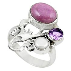 Natural purple phosphosiderite 925 silver scorpion charm ring size 7 m16363