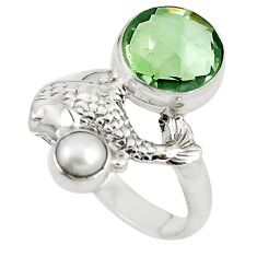 Natural green amethyst pearl 925 sterling silver fish ring size 8 m16803