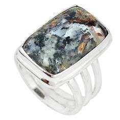 Natural bronze astrophyllite (star leaf) 925 silver ring size 6.5 m18462