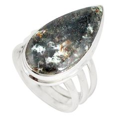 925 silver natural bronze astrophyllite (star leaf) pear ring size 8.5 m18465