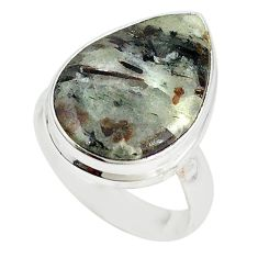 Natural bronze astrophyllite (star leaf) 925 silver ring size 7 m18476