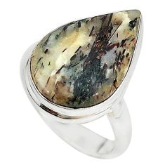 Natural bronze astrophyllite (star leaf) 925 silver ring size 8.5 m18478