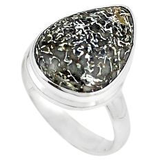 925 silver natural brown dinosaur bone fossilized ring jewelry size 8 m18600