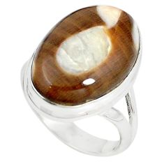 Natural brown peanut petrified wood fossil 925 silver ring size 8 m18604