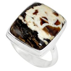 Natural brown peanut petrified wood fossil 925 silver ring size 9.5 m18608
