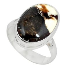 925 silver natural brown peanut petrified wood fossil ring size 7.5 m18617