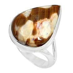 Natural brown peanut petrified wood fossil 925 silver ring size 8 m18619