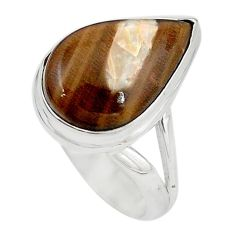 925 silver natural brown peanut petrified wood fossil ring size 7.5 m18644