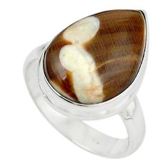 Natural brown peanut petrified wood fossil 925 silver ring jewelry size 8 m18647