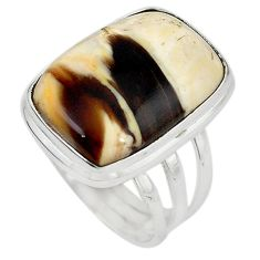 Natural brown peanut petrified wood fossil 925 silver ring size 7.5 m18652