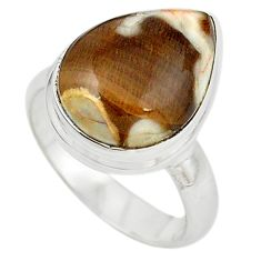Natural brown peanut petrified wood fossil 925 silver ring size 7 m18653