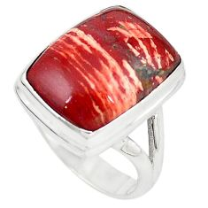 Natural red snakeskin jasper 925 sterling silver ring jewelry size 6.5 m18662