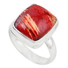 925 sterling silver natural red snakeskin jasper ring jewelry size 8 m18664
