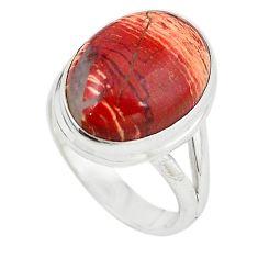 Natural red snakeskin jasper oval 925 sterling silver ring size 6.5 m18665