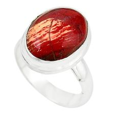 925 sterling silver natural red snakeskin jasper oval ring size 7 m18667
