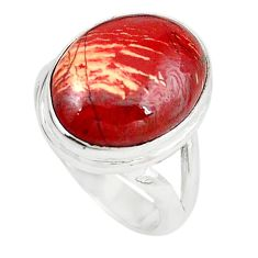 Natural red snakeskin jasper 925 sterling silver ring jewelry size 6.5 m18670