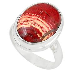 Natural red snakeskin jasper 925 sterling silver ring jewelry size 7 m18677