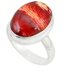 Natural red snakeskin jasper 925 sterling silver ring size 8.5 m18685