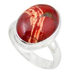 Natural red snakeskin jasper 925 sterling silver ring size 7.5 m18686