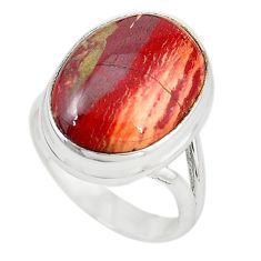 Natural red snakeskin jasper 925 sterling silver ring jewelry size 7 m18691