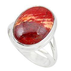 Natural red snakeskin jasper 925 sterling silver ring size 7.5 m18695