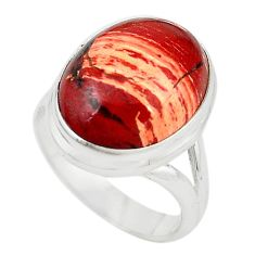 Natural red snakeskin jasper 925 sterling silver ring size 7.5 m18699