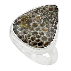 Natural black stingray coral from alaska 925 silver ring jewelry size 7 m18725